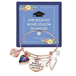 Inspirational Graduation Gifts for Her 2021, Engraved Inspirational Bangle Graduation Grad Cap Mantra Quote She Believed She Could So She Did Charm Bracelet Graduation Friendship Gifts(Rose Gold V)