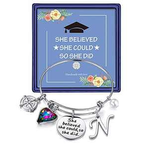 Inspirational Graduation Gifts for Women Bracelet, Engraved Inspirational Bangle Graduation Grad Cap Mantra Quote She Believed She Could So She Did Bracelet Friendship Gifts for Her 2021(Silver N)