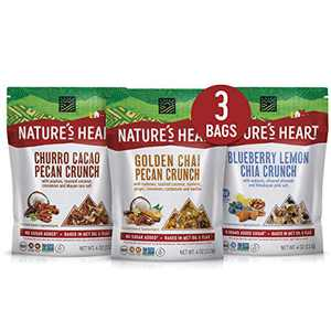 Nature's Heart | Healthy Mixed Nuts Snack | Keto, Gluten Free, Vegan, Low Carb, Paleo | Ethically Sourced | Golden Chai, Blueberry Lemon, and Churro Cacao (Pack of 3)