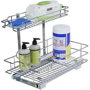 Tiger Pull Out Cabinet Organizer – Perfect for Vanity and Kitchen Under Sink Cabinet Two Tier Sliding Out Shelves -- Steel Metal - Holds 100 lbs- (11 1/4'' W x 18'' D x14 1/2'' H )[Chrome]