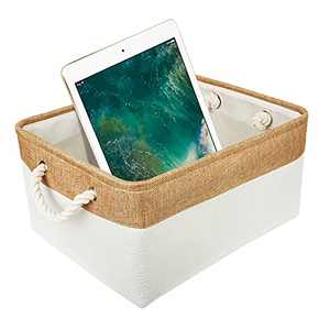 AXUAN Storage Basket Rectangular Fabric Bin, Small Collapsible Cloth Baskets for Organizing with Handles for Shelves, Toys, Clothes, Towel(Medium Storage Bins, Beige, 14.17×10.83×6.70inch, 1 Pack)