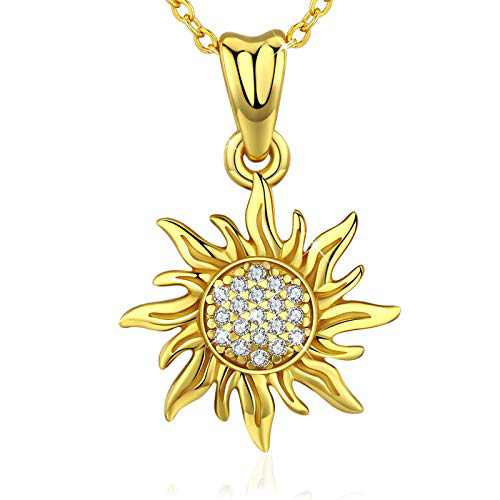 Sunflower Necklace, You Are My Sunshine Pendant Jewelry for Women S925 Sterling silver 18K Gold Plated Cubic Zirconia Sunflower Pendant with Gift Box