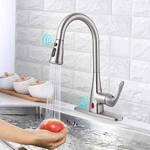 Touchless Kitchen Faucet, Himimi Kitchen Faucet with Pull Down Sprayer, Single Handle Dual Sensor Sink Faucet , Resist Fingerprint, 1 Hole and 3 Hole Deck Kitchen Faucet