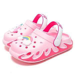 KUBUA Kids Clogs Garden Shoes for Boys Girls Pink