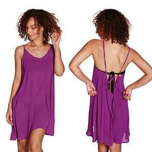 Catalonia Women's Swim Bathing Suit Cover Up, Summer Chiffon Backless Beach Mini Sundress Purple