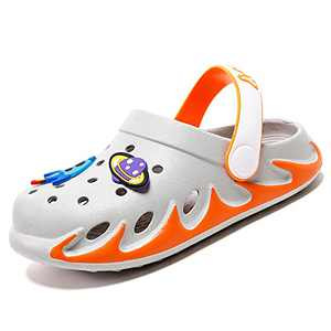 KUBUA Kids Garden Clogs Slip On Water Shoes for Boys Girls Orange