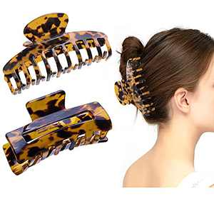 2 Pcs Hair Claw Clips for Women-3.5'' Hair Accessories Tortoise Barrettes Claw Hair Clips for Thick Hair