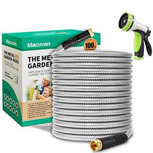 Macuvan Flexible Metal Garden Hose 100 ft-Heavy Duty Water Hose with Durable 304 Stainless Steel and 10 Way Spray Nozzle-Strong 3/4'' Solid Brass Fittings-Outdoor Yard No Kink Lightweight Hose Pipe