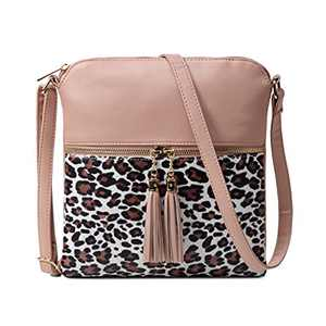 Nabegum Leopard Print Crossbody Bag Cheetah Animal Handbag Vegan Leather Purse Black (leopard&Pink)