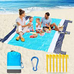"""Naohiro 2021 Upgraded Sand Free Beach Blanket,Extra Large 79"""" X 82"""" for 4-7 Persons Beach Mat.Outdoor Picnic Mat for Travel, Camping, Hiking and Music Festivals Quick Drying Heat Resistant(Blue-Gray)"""