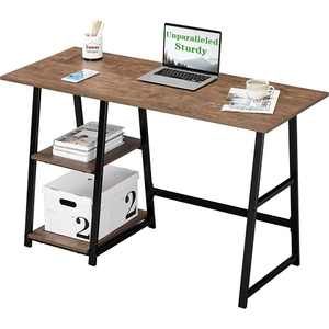 Computer Desk 47.24inch with 2-Tier Shelves Sturdy Home Office Desk with Large Storage Space Work Desk Study Table, Walnut