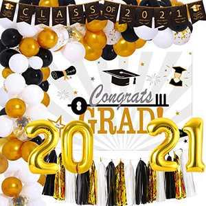 NAIWOXI Graduation Decorations 2021 - Graduation Party Supplies Including Congrats Grad Banner, Garland Balloons Kits, 2021 Balloons, Paper Tassels, Graduation Backdrop for Congrats Grad Decorations