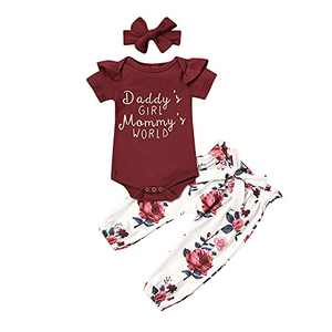 Daddy's Girl Mommy's World Baby Girls Ruffle Romper Floral Pant Headband Outfits (Red, 18-24 Months)
