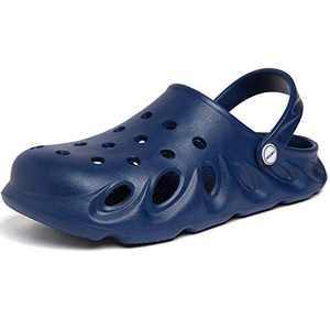SINNO Mens Womens Garden Clogs Shoes Sandals Lightweight Summer Anti-Slip Beach Shoes Nursing Slippers Casual Indoor Outdoor Mules Dark Blue