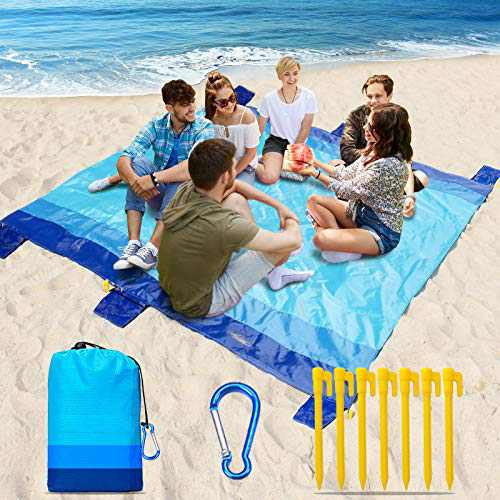 """Naohiro 2021 Upgraded Sand Free Beach Blanket,Extra Large 79"""" X 82"""" for 4-7 Persons Beach Mat.Outdoor Picnic Mat for Travel, Camping, Hiking and Music Festivals Quick Drying Heat Resistant(Blue-Blue)"""