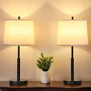 Touch Control Table Lamps Set of 2, Ziisee 3-Way Dimmable Bedside Lamps with Dual USB Charging Ports, 24'' White Fabric Lampshade Modern Nightstand Lamps for Bedroom, Living Room (LED Bulbs Included)