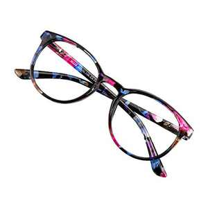 Blue Light Blocking Glasses for Women/Men, Anti Eyestrain, Computer Reading, TV Glasses, Stylish Oval Frame, Anti Glare(Pink Floral, No Magnification)