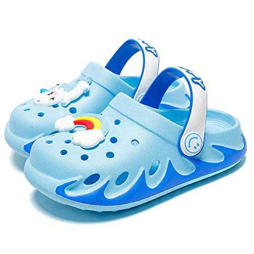 KUBUA Kids Garden Clogs Slip On Water Shoes for Boys Girls Sky Blue