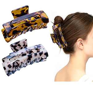 2 Pcs Claw Hair Clips for Women - 3.5'' French Design Celluloid Leopard Print Strong Hair Accessories for Women Tortoise Barrettes Hold Hair Claw Clips for Thick Hair