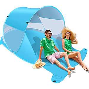 Felicigeely Beach Tent, Large Automatic Instant Pop Up Beach Shade, UPF 50+ Portable Sun Shelter Anti UV Beach Umbrella Baby Beach Tent with Carrying Bag Fit for 2 Person