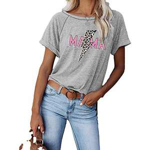 Shimida Womens Mama Short Sleeve Graphic T Shirts Summer Lightning Leopard Print Tops Tunics Gray Medium