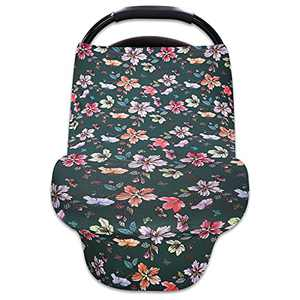 DILIMI Baby Car Seat Covers for Newborns Flower Nursing Cover Multi-Use Stretchy Soft Breathable Infant Carseat Canopy Breastfeeding Cover Shower Gifts