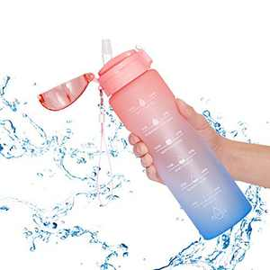 Allfourior 32 / 36oz Water Bottles with Times to Drink – Water Bottle with Straw with Time Marker Water Tracker Bottle BPA Free & Leak proof for Sports, Outdoors and Office