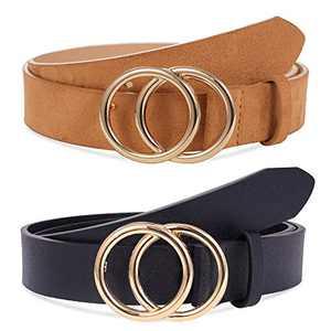 Yanstar Double O-Ring Womens Belts - 2 Pack Faux Leather Waist Belt for Women Jeans