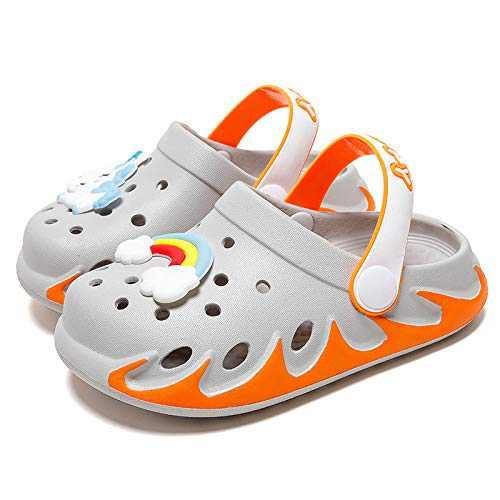 KUBUA Kids Garden Clogs Slip On Water Shoes for Boys Girls Orange