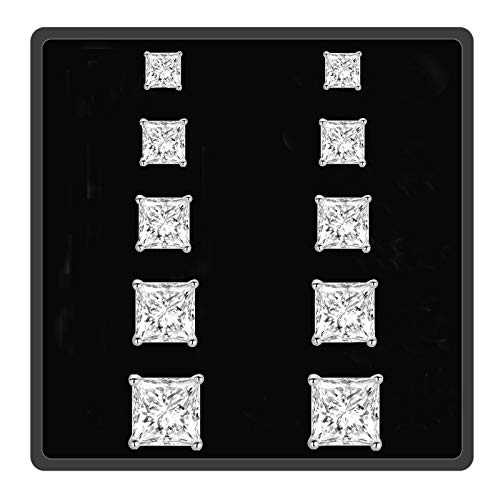 18K White Gold Plated Princess Cut Clear Cubic Zirconia Square Stud Earring 5 Pairs For Women