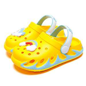 KUBUA Kids Garden Clogs Slip On Water Shoes for Boys Girls Yellow