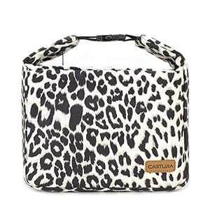 Women Lunch Bag Insulated Lunch Tote Bags for Buckle Handle 12 Cans-Leopard
