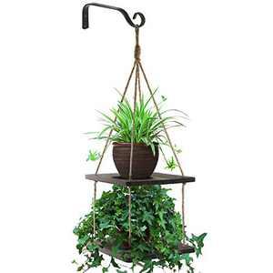 Ruixii Hanging Plant Shelf 2 Tier Wood Planter Hanger Pot Holder with Jute Rope Rustic Decorative Flower Pot Rack Farmhouse Shelves Home Window Decor for Patio Kitchen Bathroom Porch