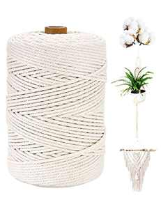 yumcute Cotton String Twine Macrame Cord 3mm x 200M Decorative Cord for Arts & Crafts, Plant Hangers, Gift Wrapping, Home Decorations, Packing