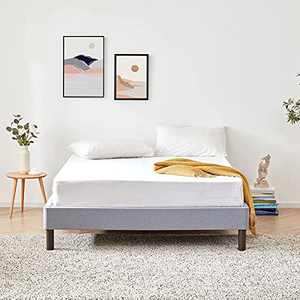 BDEUS 14 Inch Wood Slat Platform Bed Frame with Tool-Free Assembly, 100% Wooden Frame Mattress Foundation, 5 Minutes Assembly, Sturdy, No Noise, No Box Spring Need, Twin Size