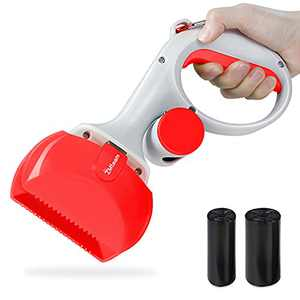 ZMteam Pooper Scooper for Medium Small Dogs, Portable Handle & High Strength Pet Pooper Scooper with Non-Breakable,Great for Grass/Dirt/Gravel/Lawns Waste Pick Up,Included Leash Clip and Dog Poop Bags