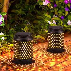 2 Pack Hanging Solar Lantern Outdoor Lights Retro LED Solar Garden Lantern Solar Power Lantern Table Waterproof Decorative Light with Bamboo Weaving Pattern for Garden Patio Lawn Courtyard Tabletop