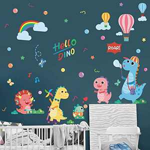 Supzone Colorful Dinosaur Wall Stickers Cartoon Dino Wall Decals Hot Air Balloon Rainbow Bubble Wall Decal Art Murals Sticker for Kids Bedroom Playroom Living Room Baby Nursery Wall Décor