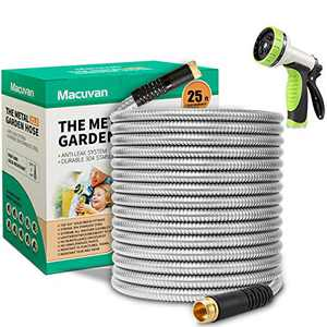 Macuvan Flexible Metal Garden Hose 25ft-Heavy Duty Water Hose with Durable 304 Stainless Steel and 10 Way Spray Nozzle-Strong 3/4'' Solid Brass Fitting-Outdoor Yard No Kink Lightweight Short Hose Pipe