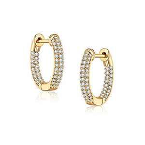 Cubic Zirconia Huggie Earrings for Women, 14K Gold Plated Cubic Zirconia Cuff Earrings Huggie Stud Hypoallergenic Small Hoop Earrings 15mm Gold Hoop Earrings for Women