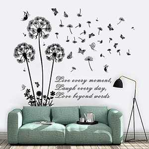 Supzone Dandelion Wall Stickers Flower Wall Decals Butterflies Flying Wall Decors Quotes Live Every Moment Inspirational Wall Art Stickers for Bedroom Living Room Sofa Backdrop TV Wall Décor