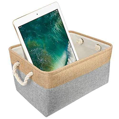 AXUAN Storage Bins Cube Storage Box Closet Organizers and Storage Decorative Basket Collapsible Storage Bin for Shelves, Toys, Clothes, Office (Small Storage Box, Grey, 12.40×8.46×5.31inch)