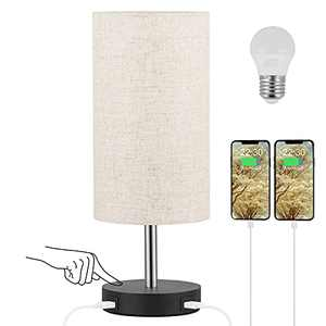 USB Bedside Lamp with Touch Control - Aooshine USB Table Lamp with Fully Dimmable, Beige Shade and Black Base, Small Table Lamp for Bedroom