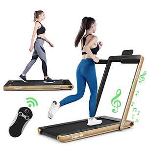 GYMAX 2 in 1 Folding Treadmill, Under Desk Walking Running Machine with Bluetooth Speaker, LED Monitor & Smart App Control, Electric Treadmill for Home Gym (Yellow)