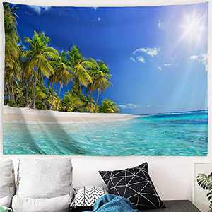 MENORCA Palm Tree Ocean Beach Wall Tapestry Hanging For Bedroom Aesthetic, Nature Blue Sea Water Wave Ceiling Tapestry, Mountain Tree Forest Landscape Small Tapestry-60 Inch Wide*40 Inch High