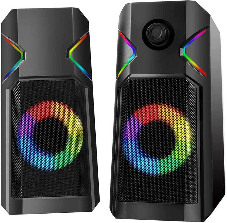 Computer Speakers, UCMDA Wired RGB PC Speakers, 10W Enhanced Stereo Sound USB Powered Portable Desktop Speakers, One Key Control/3.5mm Audio Input/Colorful LED Light Gaming Speakers