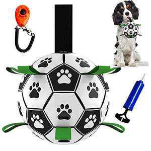 Dog Soccer Ball with Grab Tabs, Interactive Football Puppy Balls for Small & Medium Breeds, Fun Water Pet Dog Toys