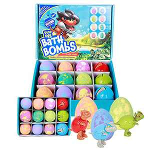 Kids Bath Bombs Dino Egg Bath Balls Kit with Surprise Deformed Dinosaur Toys , Natural and Safe Bath Bomb Set , Spa Organic Bubble Bath Fizzies ,for Boys and Girls Christmas Easter Birthday Gifts