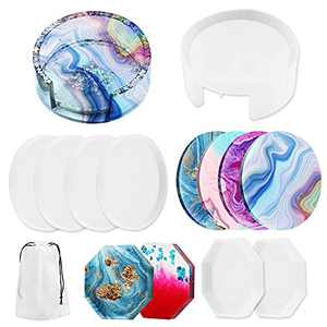 Coaster Resin Molds,Bowotow 7 Pack DIY Casting Mold Silicone Coaster Storage Box Mold, Resin Coaster Craft Mold, Round Epoxy Resin Molds for Resin Craft DIY Cups Mats Home Decor