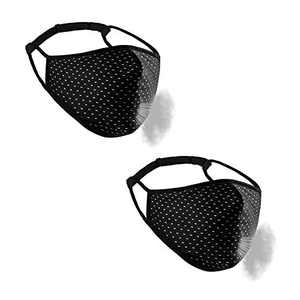 GEOUSY 2 Pcs Adjustable Sports Face Mask - Adjustable Strap for Custom Fit, Face Cover, Breathable Fabric, Reusable & Machine Washable, Four-Layer Design Workout Mask (Black)